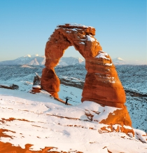 Delicate Arch at winter sunset