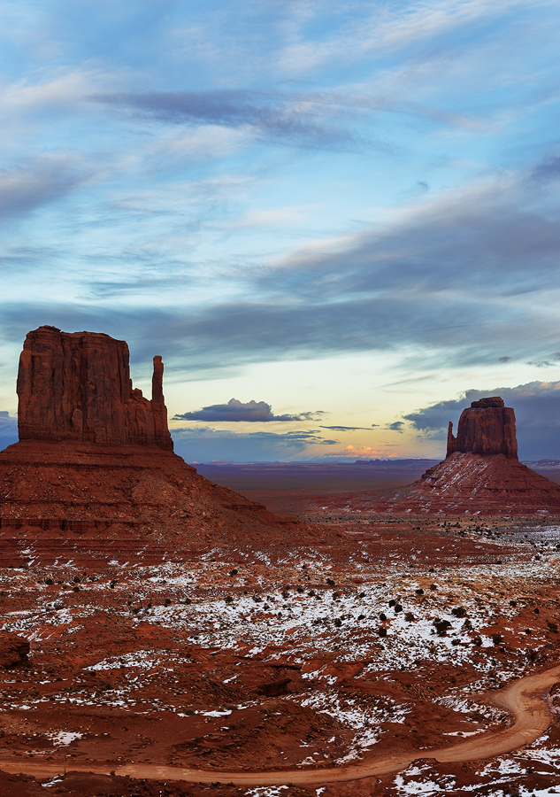Twin mitten at dusk, Navajo Monument Valley